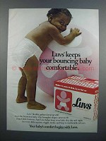 1983 Luvs Diapers Ad - Keeps Bouncing Baby Comfortable