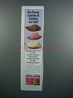1983 Weight Watchers Frozen Dessert Ad - It Tastes Fat