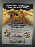 1983 Quaker Chewy Granola Bars Ad - If You Don't Try