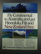 1983 Continental Airlines Ad - Fly to Australia