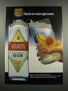 1983 Gilbey's Gin Ad - Here's to More Gin Taste