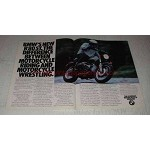 1983 BMW R80ST Motorcycle Ad - Riding and Wrestling