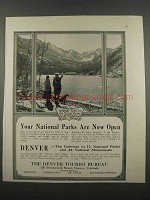 1918 Denver Tourist Bureau Ad - National Parks Now Open