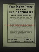 1918 The Greenbrier Resort Ad - White Sulphur Springs