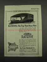 1918 Du Pont Fabrikoid Ad - Rayntite Top Stays New