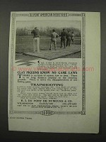 1918 Du Pont Trapshooting School Ad - Clay Pigeons