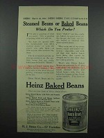 1914 Heinz Baked Beans Ad - Steamed or Baked?