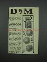 1914 D&M Baseball Ad - Selected by U.S. Government