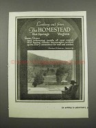 1919 The Homestead Resort Ad - Looking Out From