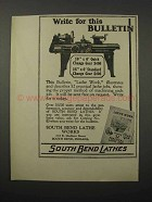 1924 South Bend Lathes Ad - Write For This