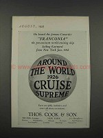 1925 Thos. Cook & Son Cruise Ad - On Franconia