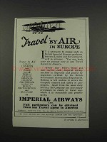 1925 Imperial Airways Ad - Travel by Air in Europe
