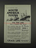 1925 Grace Line Ad - South America Tours