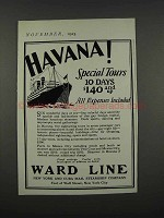 1925 Ward Line Ad - Havana! Special Tours