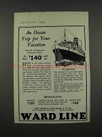1925 Ward Line Ad - An Ocean Trip for Your Vacation