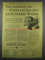 1928 Delco-Light Plant Ad - Power Plant Eats Hard Work