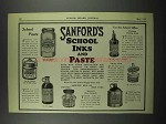 1929 Sanford's School Inks and Paste Ad