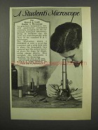1929 Bausch & Lomb Double A Microscope Ad
