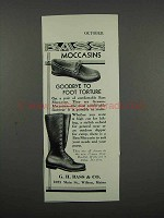 1931 Bass Moccasins Ad - Goodbye to Foot Torture
