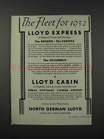 1932 North German Lloyd Cruises Ad - The Fleet