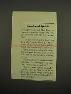 1949 Post Grape-Nuts Wheat-Meal Cereal Ad - Good Quick