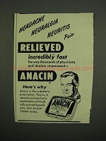 1949 Anacin Medicine Ad - Pain Relieved Fast