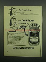 1950 Best Foods Mustard with Horseradish Ad - Coleslaw