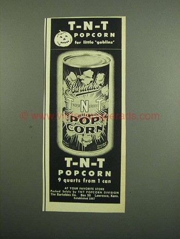 1950 Barteldes T-N-T Popcorn Ad - For Little Goblins