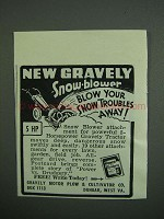 1950 Gravely Snow Blower Ad - Blow Troubles Away