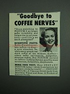 1950 General Foods Postum Drink Ad - Coffee Nerves