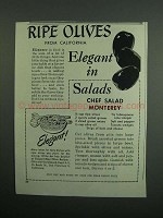 1951 Olive Advisory Board Ad - Chef Salad Monterey