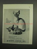 1953 Royal Copenhagen Siamese Cat & Sleeping Tabby Ad