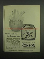 1953 Ronson Table Lighter Ad - What Faye Emerson Does