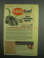 1954 Gehl PTO 2-Row Forage Harvester Ad