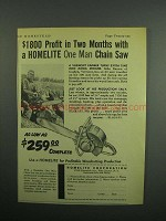 1954 Homelite One Man Chain Saw Ad - $1800 Profit