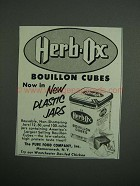 1954 Herb-Ox Bouillon Cubes Ad - New Plastic Jars