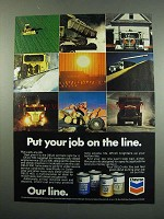 1984 Chevron DELO Oil Ad - Put Your Job On The Line