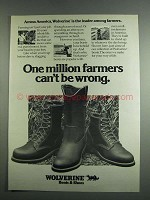 1984 Wolverine Boots & Shoes Ad - One Million Farmers