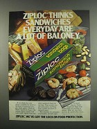 1984 Ziploc Sandwich Bags Ad - Sandwiches Are Baloney