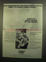 1984 American Cancer Society Ad - Mammography Detect