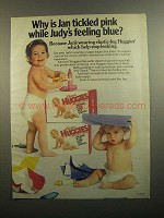1984 Huggies Diapers Ad - Why is Jan Tickled Pink
