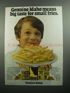 1984 Idaho Potato Commission Ad - Small Fries