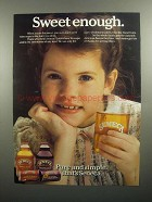 1984 Seneca Juice Ad - Sweet Enough
