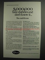 1984 Pfizer Pharmaceuticals Ad - 5,000,000 Diabetes