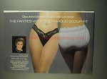 1984 Olga #1790 and #913 Fashion Scoops Panties Ad