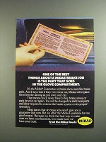 1984 Midas Brakes Ad - Goes in Glove Compartment