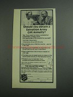 1984 The Salvation Army Ad - Obtain Gift Annuity