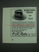 1984 P&S Sales Adventurer Fedora Ad