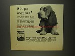 1955 Sergeant's Sure Shot Capsules Ad - Stops Worms