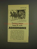 1955 Absorbine Liniment Ad - Ringling Bros Circus Team